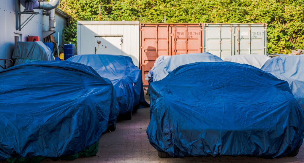 Classic cars under cover